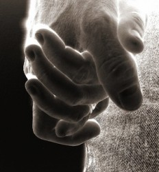 Holding hands in negative image